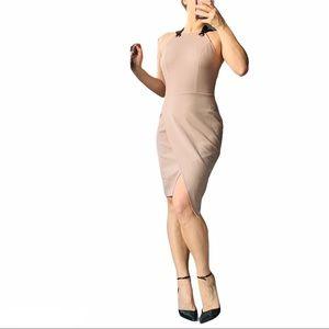 Adelyn Rae Tan Pink Strapped Loop Wrap Hem Dress